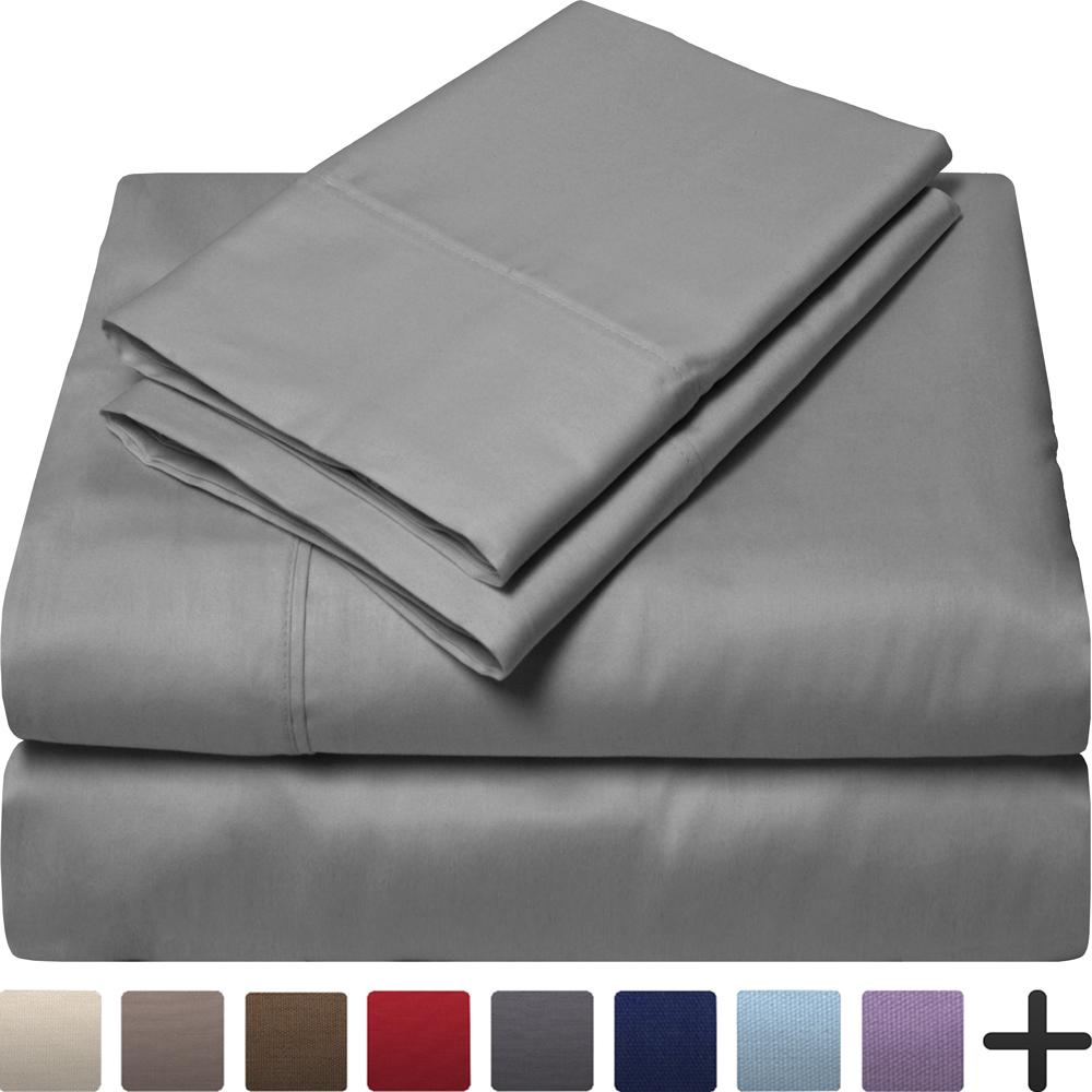 Egyptian Cotton 300 Thread Count Sateen Queen Sheet Set (Queen, Grey)