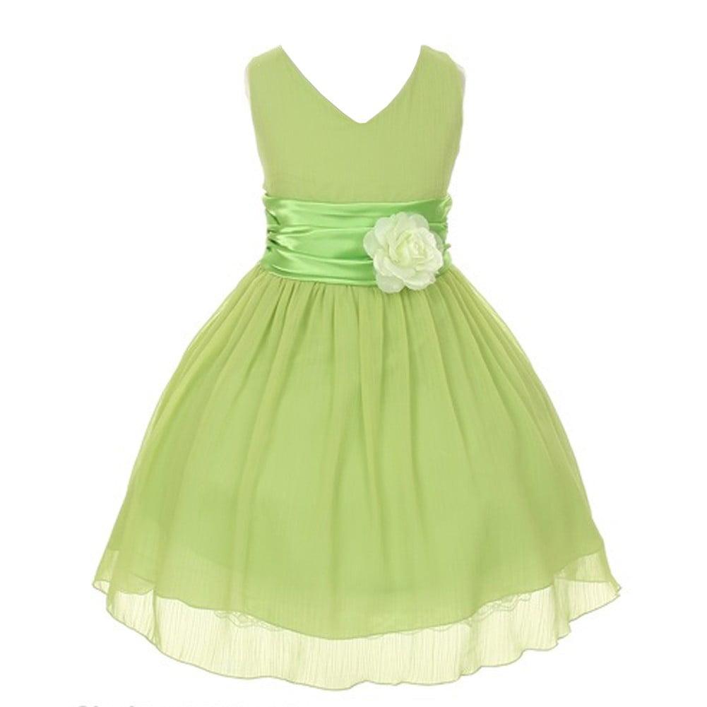 Little girls green yoru chiffon double v neck flower girl dress 2 little girls green yoru chiffon double v neck flower girl dress 2 walmart mightylinksfo