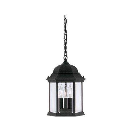 """Black 3 Light 9.5"""" Cast Aluminum Hanging Lantern From The Devonshire Collection"""