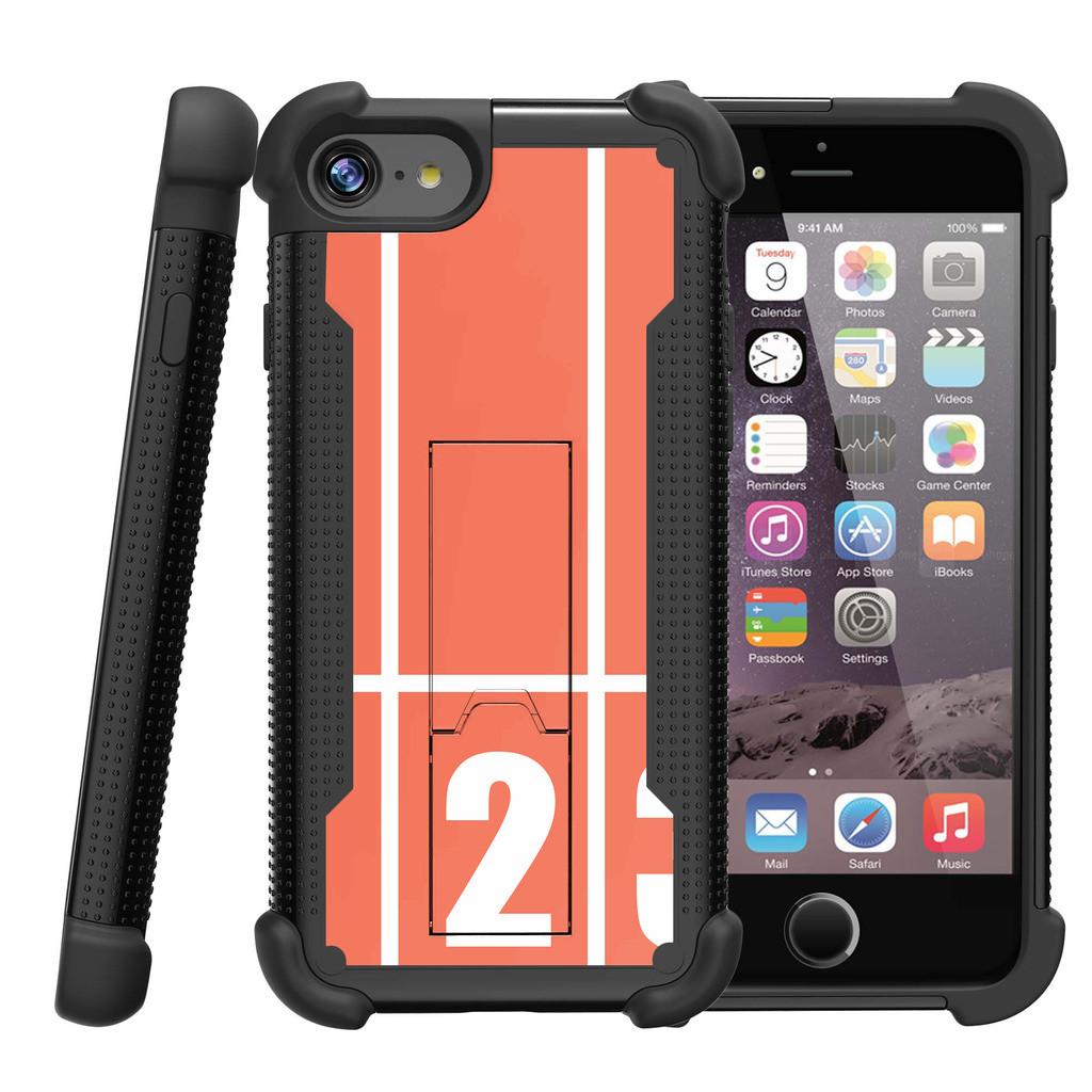 "Apple iPhone 7 4.7"" Shockwave Armor Dual Layer Kicsktand Case - Track Lines"
