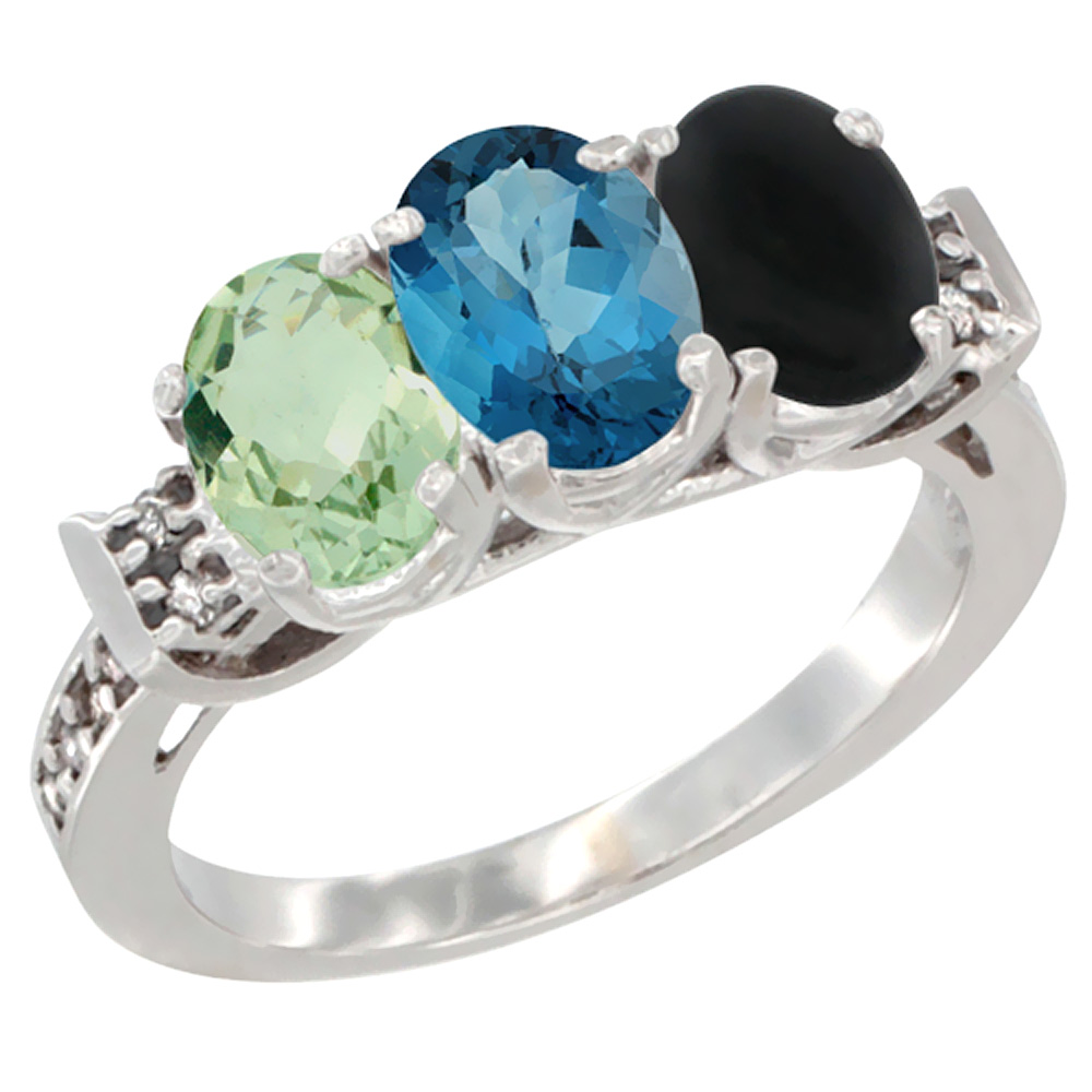 10K White Gold Natural Green Amethyst, London Blue Topaz & Black Onyx Ring 3-Stone Oval 7x5 mm Diamond Accent, sizes 5... by WorldJewels