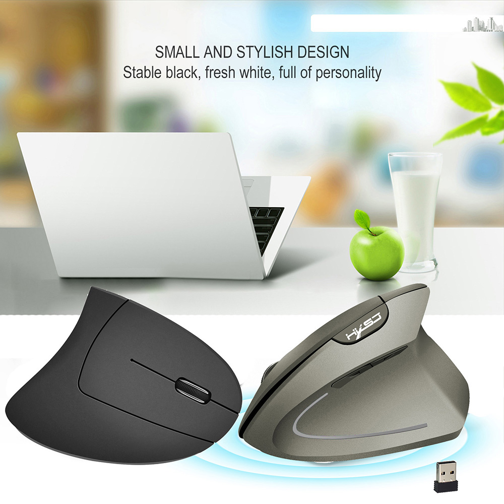 HXSJ T24 2.4G Wireless Mouse Vertical Ergonomic Adjustable DPI 800 1600 2400 6 Buttons with USB Receiver for Notebook PC Laptop Computer Macbook