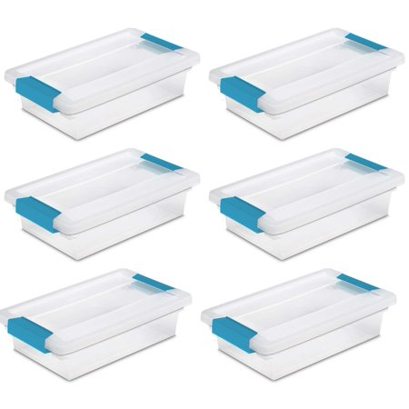 Sterilite Small File Clip Box Clear Storage Containers w/ Lid (6 Pack) 19618606 - Art Boxes