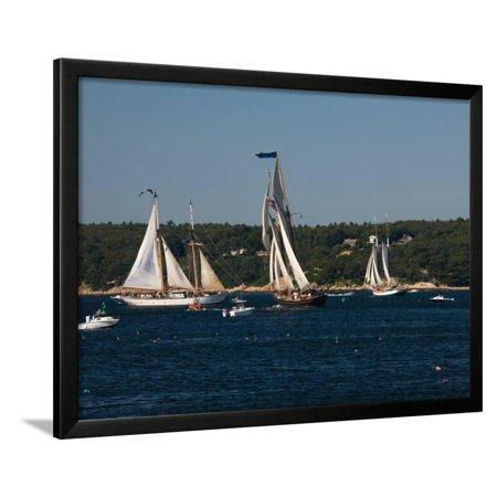 - Schooner Leaving Harbor For a Race, Gloucester Schooner Festival, Gloucester, Cape Ann, MA Framed Print Wall Art