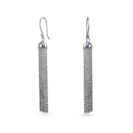 Bling Jewelry Petal Dome Tel Dangle Long Chain Earrings Sterling Silver