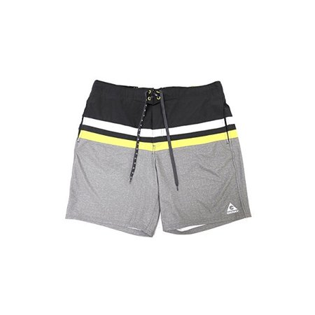b6ff626b3a Gerry Mens Size X-Large Sportswear Swim Shorts, Black & Grey W/Yellow &  White Stripe - Walmart.com