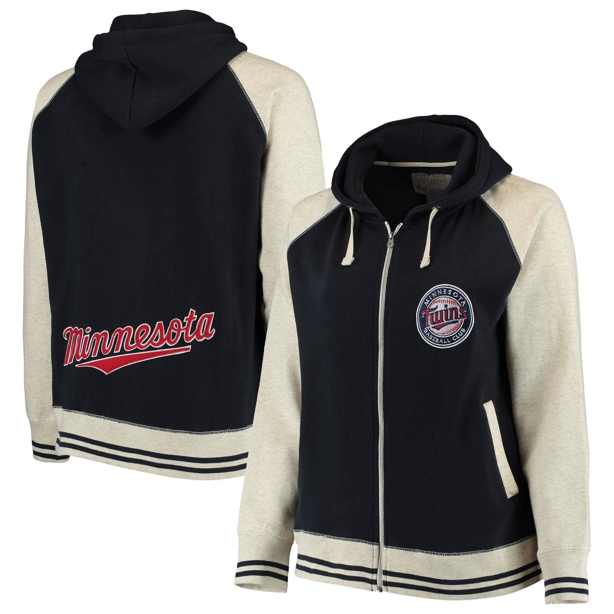 Minnesota Twins Soft as a Grape Women's Plus Size Varsity Raglan Full-Zip Hoodie - Navy/Cream