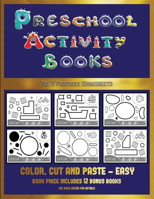Pre K Printable Worksheets: Pre K Printable Worksheets (Preschool Activity  Books - Easy) : 40 Black And White
