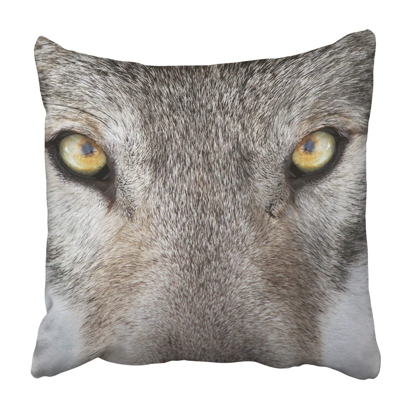 BPBOP Timber wolf portrait wolf with a yellow eyes Pillowcase Throw Pillow Cover Case 20x20 inches
