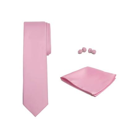 - Jacob Alexander Solid Color Men's Tie Hanky and Cufflink Set