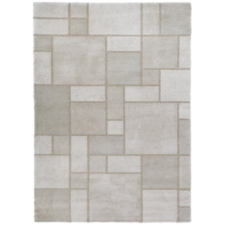Geometric Earth Tone Belgian Soft Plush Area Rug for Living Room Gray 9x12