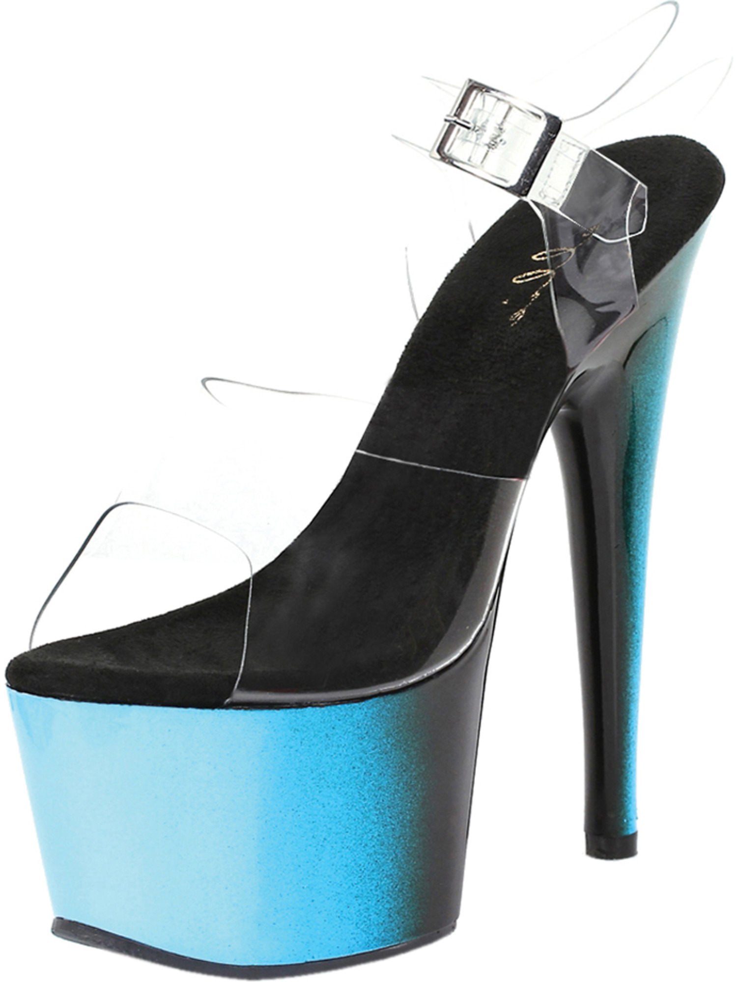 Womens Ankle Strap High Heels Blue Shoes Pink Sandals Purple Ombre 7 Inch Heels