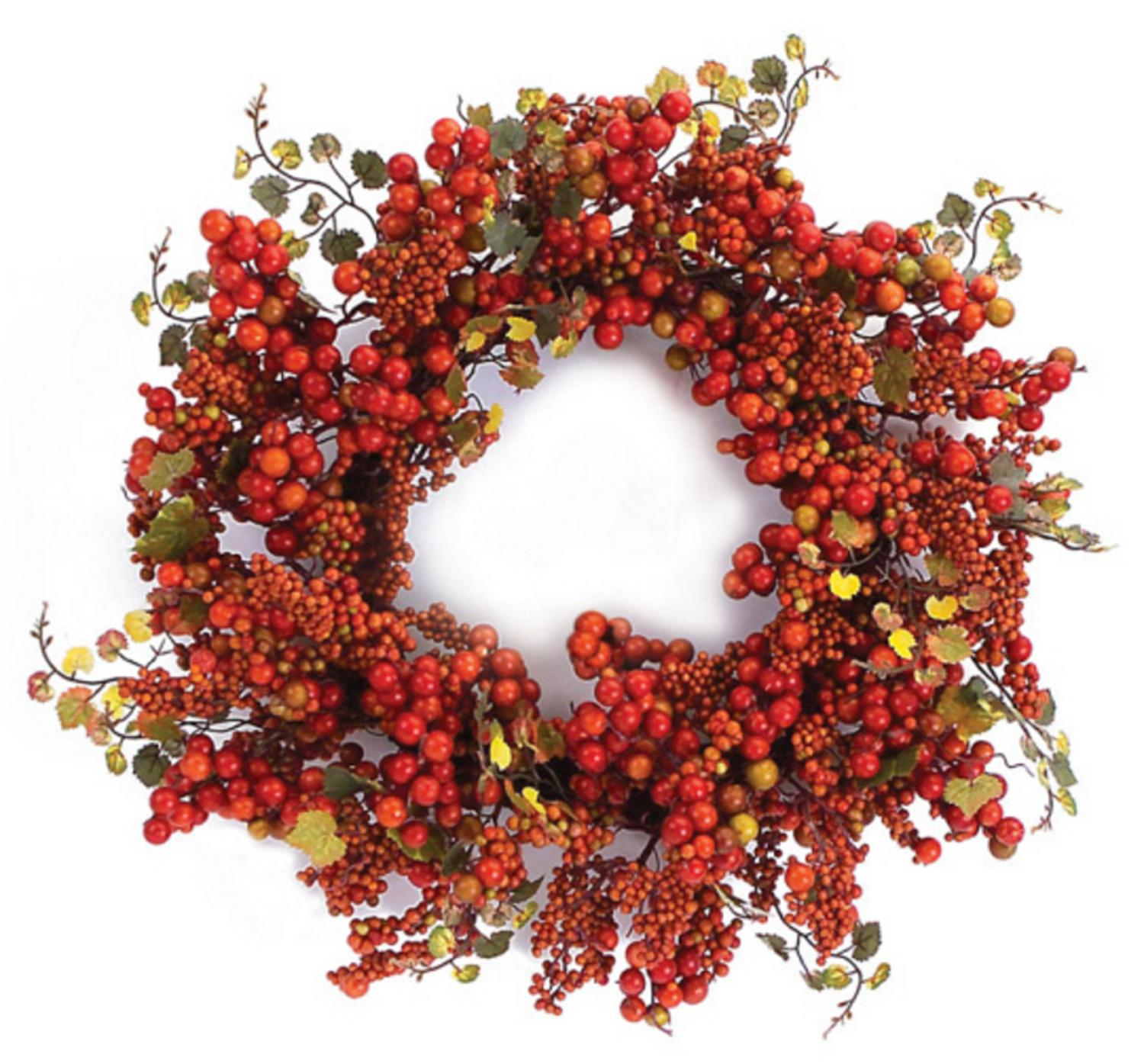 Pack of 2 Thanksgiving Fall Harvest Artificial Orange Berry & Grape Leaf Wreaths