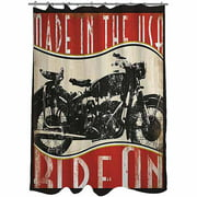 "IDG Vintage Motorcycle Shower Curtain, 71"" x 74"""