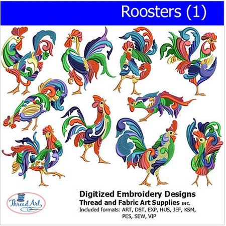Threadart Machine Embroidery Designs Roosters (1) - Halloween Machine Embroidery Design