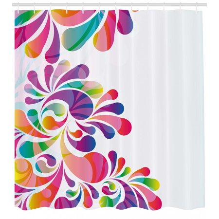Rainbow Shower Curtain Floral Themed Design Curvy Colorful Background Nature Inspired Illustration Art Fabric