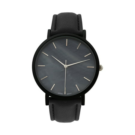 Black Techno Pave Watch Stainless Steel Back Leather Strap Water Resistant New