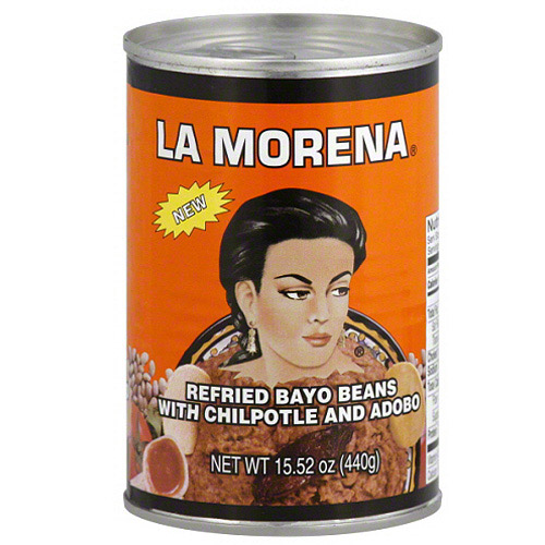 La Morena Refried Bayo Beans with Chipotle and Adobo, 15.52 oz, (Pack of 12)