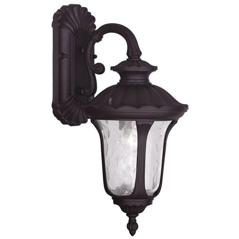 Livex Lighting 7851-07 Oxford - One Light Outdoor Wall Lantern Bronze Finish with Clear Water Glass
