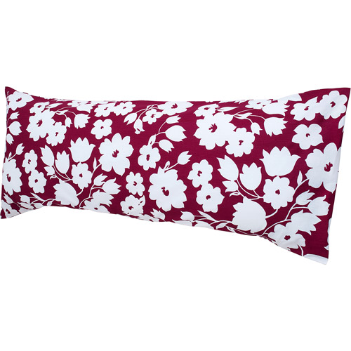 Hanes Easy Comfort Body Pillow with Removable Pillow Cover, Rasberry and White Floral Print