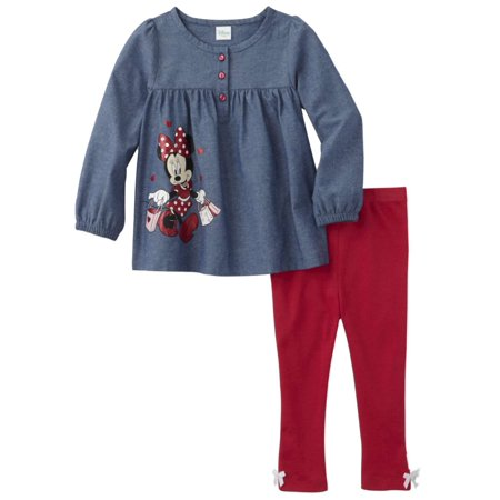 Disney Infant Girls Minnie Mouse Baby Outfit Denim Shirt & Hot Pink Pants - Disney Outfit