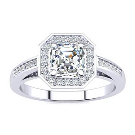 1 1/4 Carat Asscher Cut Halo Diamond Engagement Ring In 14 Karat White Gold Size 8