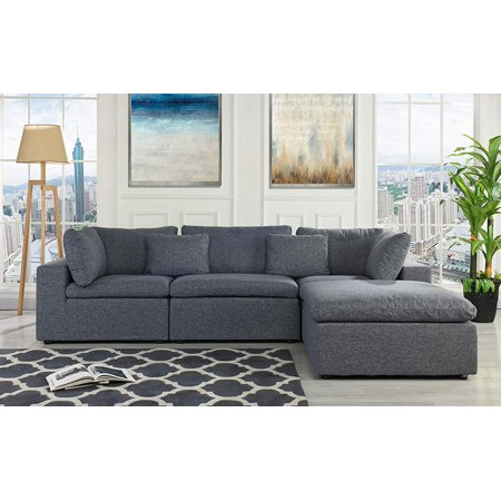 Classic Large Linen Fabric Sectional Sofa, L Shape Couch with Wide Chaise  (Dark Grey)