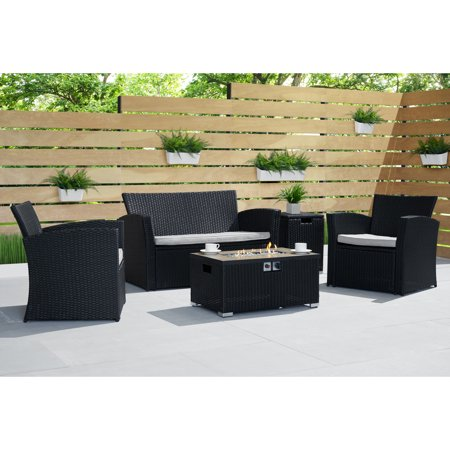 Image of Magna 4pc Fire Seating Set in Black by Sego Lily