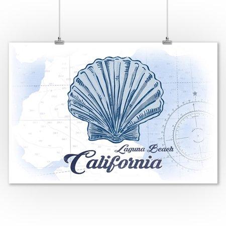 Laguna Beach, California - Scallop Shell - Blue - Coastal Icon - Lantern Press Artwork (9x12 Art Print, Wall Decor Travel Poster) ()