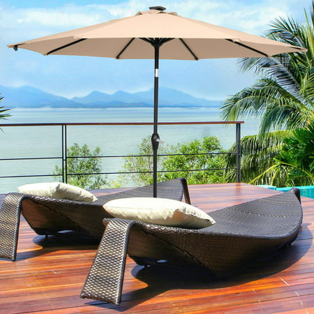 9ft Patio Umbrella Outdoor Table Umbrella Waterproof Folding Sunshade, Uneasy to Fall Down or Break (Resin Baseis Not Included)
