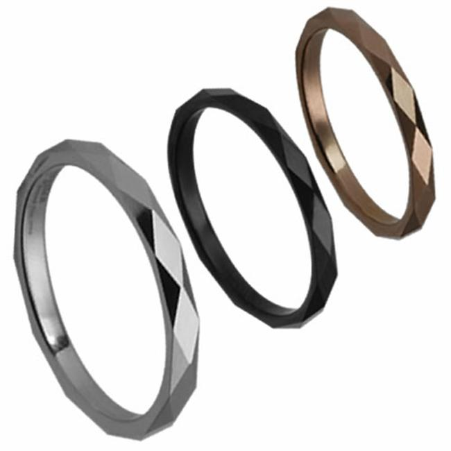 AAB Style Tungsten Ring with Diamond Cuts