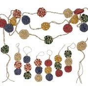 Jute & Plaid Homespun Garland Plus 6 Yoyo Ornaments  for Christmas Tree by Jubilee Creative Studio