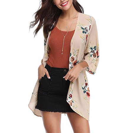 SAYFUT Casual 3/4 Sleeve Blouse Loose Tops Kimono Fashion Floral Print Cardigan Capes
