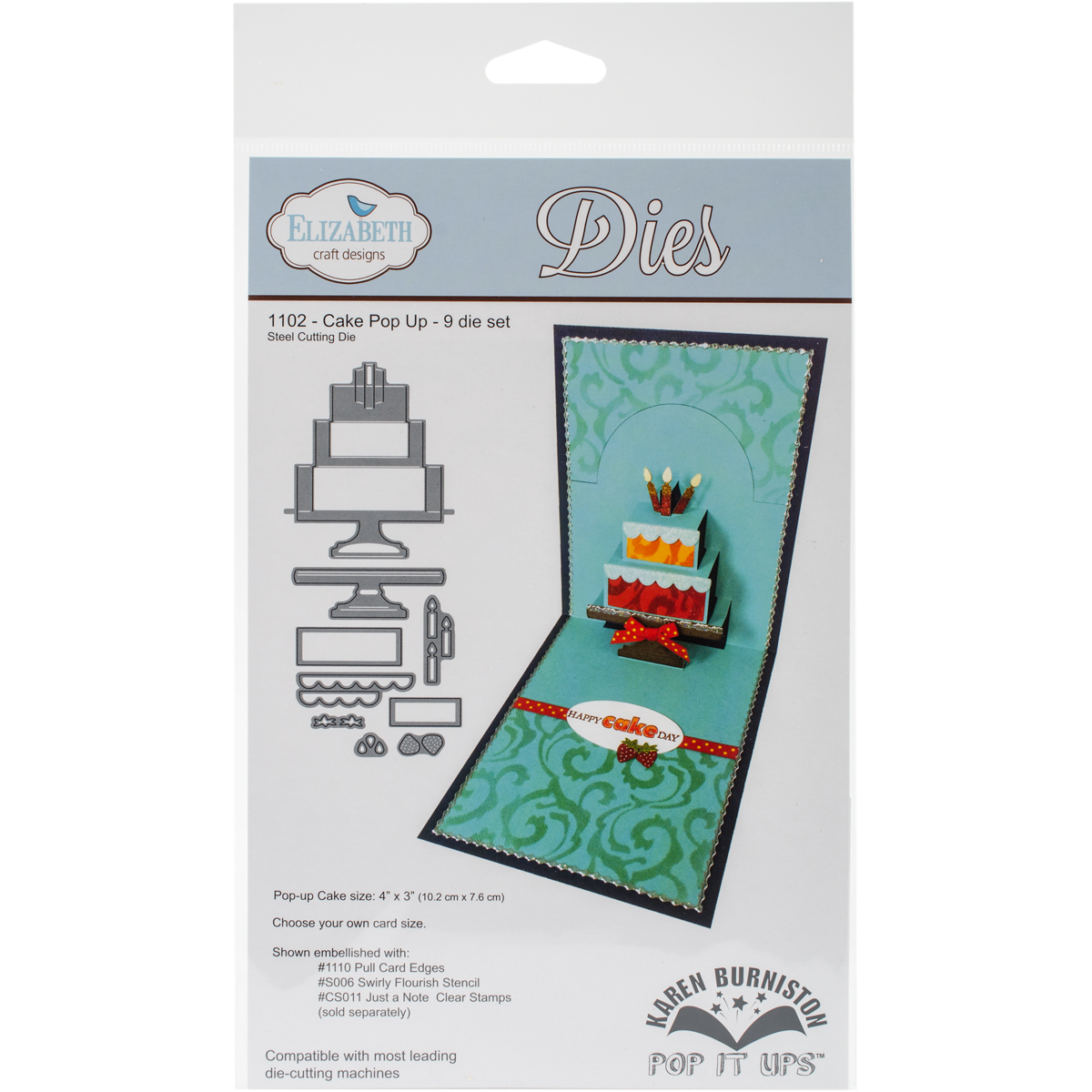"Elizabeth Craft Pop It Up Metal Dies By Karen Burniston-Cake Pop Up, 3""X4"""
