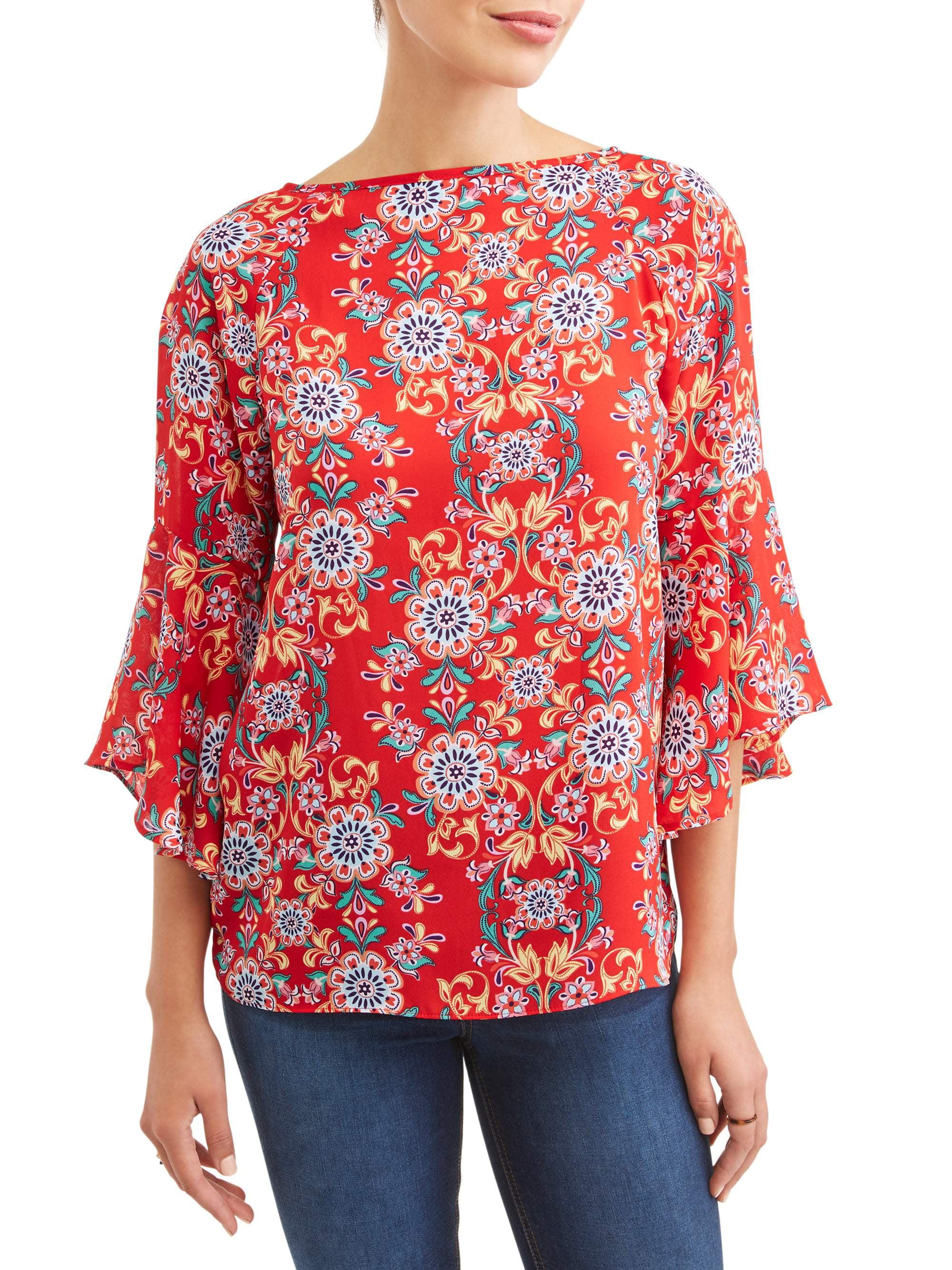 Women's Printed Ruffle Sleeve Top