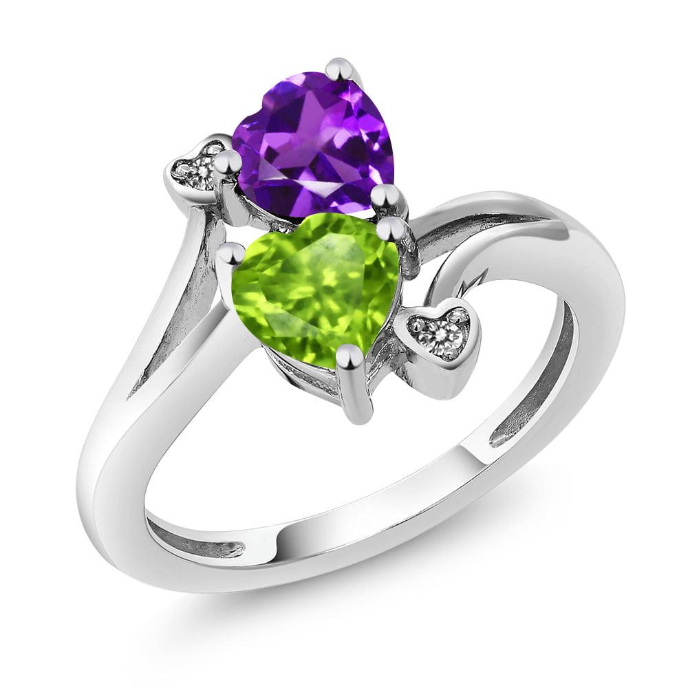 1.51 Ct Heart Shape Green Peridot Purple Amethyst 925 Sterling Silver Ring by