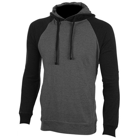 Enimay Men's Henley Raglan T-Shirt Casual Pullover Long Sleeve Hoodie Charcoal | Black Size
