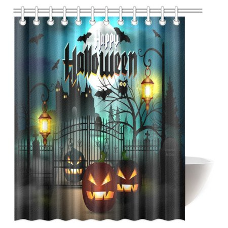 MYPOP Vintage Halloween Shower Curtain, Halloween Themed Asymmetric Caste with Scary Bats and Ghosts Full Moon Fabric Bathroom Decor Set with Hooks, 60 X 72 Inches](Halloween Bathroom Decor Ideas)