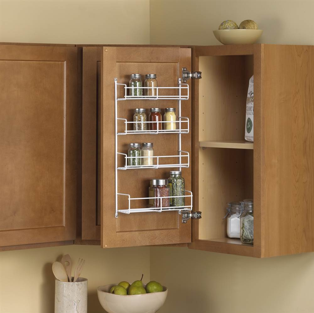 Specialty Storage/Door Mounted Spice Rack in White
