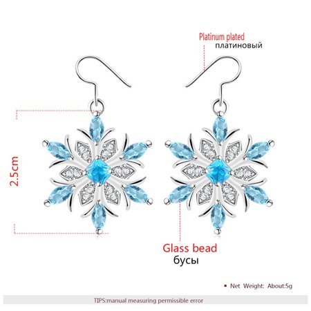 Creative Two-color Snowflake Shape Eardrop Chic Fashion Women Long Earring - image 1 de 4