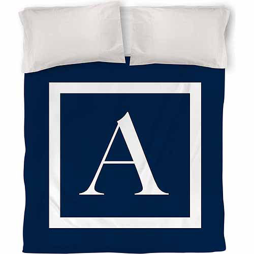 Thumbprintz Classic Block Monogram Duvet Cover, Blue