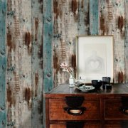 "Vintage Woods Panel Wallpaper Rolls Blue/Brown Peel and Stick Wall Paper Murals Barnwood 17.7""x 19.7ft"