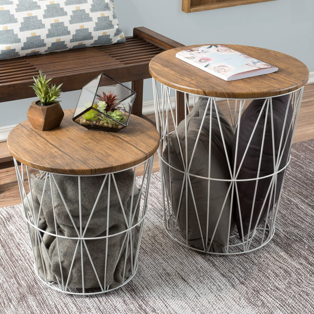 Nesting End Tables With Storage Set Of 2 Convertible Round Metal Basket Veneer Wood Top Accent Side Tables For Home And Office By Lavish Home White Walmart Com Walmart Com