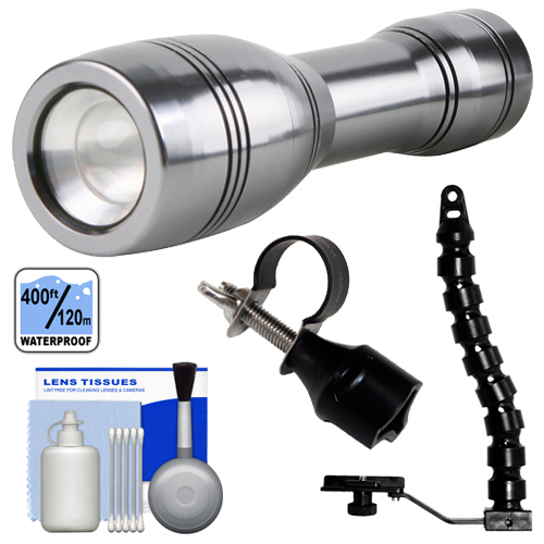 Intova Underwater LED Mini Torch Flashlight / Video Light (400' ft/ 120m) with Flex Arm & Bracket + Adapter + Cleaning Kit