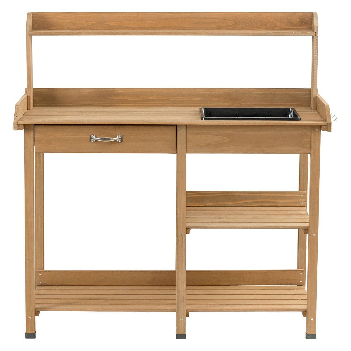 """GHP 46.1""""x17.9""""x42.6"""" Fir Wood Garden Potting Bench with Open Shelves & Side Hooks"""