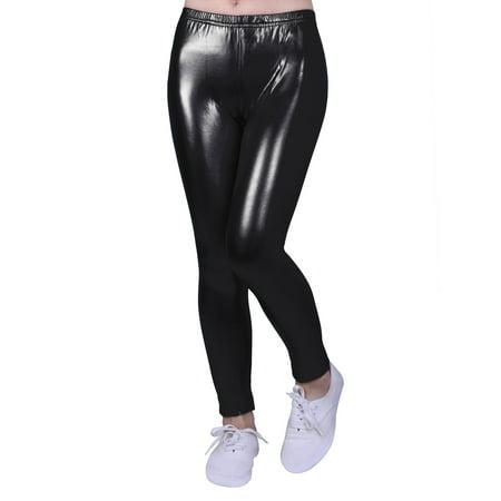 f0eda18f1 HDE Girls Shiny Wet Look Leggings Kids Liquid Metallic Footless Tights  (4T-12) ...