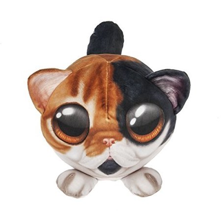 Piximals Calico Cat Stuffed Animal Plush Pillow with Big Eyes, 11 Inch Round, Polyester By Ganz