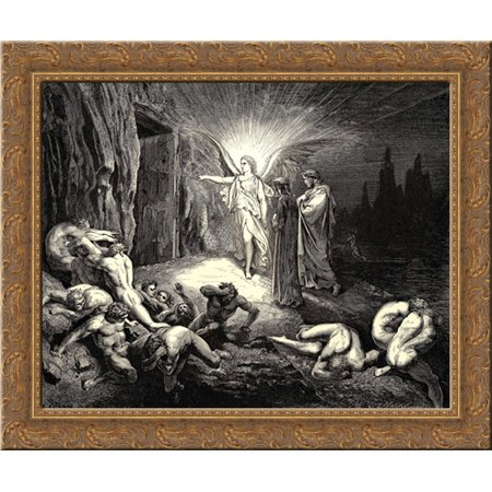 The Inferno, Canto 9, lines 87'89: To the gate He came, and with his wand touch╞d it, whereat Open without impediment it flew. 23x20 Gold Ornate Wood Framed Canvas Art (Dore Gold Finish)