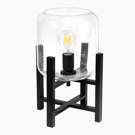 Simple Designs Black Wood Mounted Table Lamp with Glass Cylinder Shade