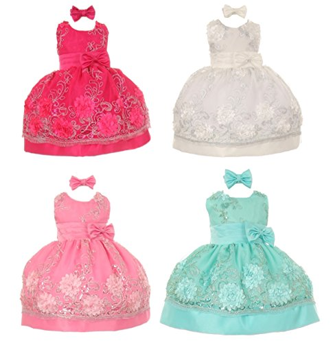 StylesILove Baby Girls Beaded Embroidered Satin Easter